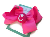 Basic Bows - MONOGRAM - Everyday Hot Pink and Hot Pink
