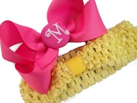 A Monogrammed Bow + Headband Kit - Hot Pink with Hot Pink Center