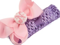 Headband + Hair Bow Set - Light Pink with Pink Dots Center