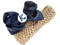 A Monogrammed Bow + Headband Kit - Navy with White Center