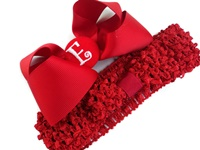 A Monogram Bow + Headband Kit - Red with Red Center