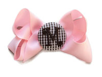 Basic Bows - MONOGRAM - Everyday Light Pink and Brown GINGHAM