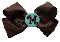 Basic Bows - MONOGRAMMED - Everyday Brown and Teal