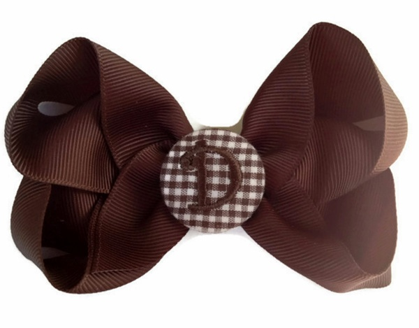Basic Bows - MONOGRAM - Everyday Brown and Brown GINGHAM