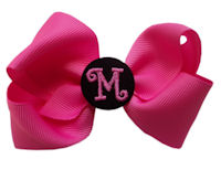 Basic Bows - MONOGRAM - Everyday Hot Pink and Black