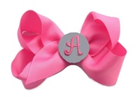 Basic Bows - MONOGRAM - Everyday Hot Pink and Gray