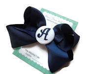 Hair Bow MONOGRAM - Navy Blue and White