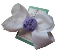 Basic Bows - MONOGRAM - Everyday White and Lavender