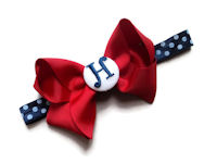 Monogram Bow + Headband Kit - Red with White and Navy Coin Center