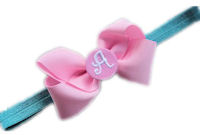 Monogram Bow + Headband Kit - Light Pink with Light Pink Center + Aqua Heaband