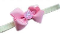 Monogrammed Bow + Headband Kit - Light Pink with Light Pink Center + Ivory Heaband