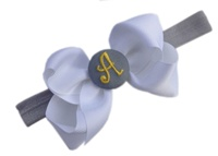 Monogrammed Bow + Headband Kit - White with Grey Yellow Center