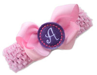 Monogram Bow + Headband Kit - Light Pink with Lavender Center