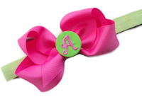 Monogrammed Bow + Headband Kit - Hot Pink with Lime Green Center