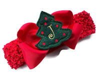 Monogram Bow + Headband Kit - Red with Dark Green Tree Center