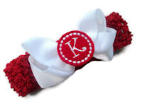 Headband + Hair Bow Set - White with Red Center