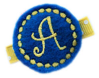 Monogrammed Gumball -  FELT CLIP - School Blue and Yellow