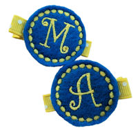 Monogrammed Gumball -  FELT CLIP - School Blue and Yellow - TEAM