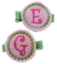 Monogrammed Gumball -  FELT CLIP - Preppy Pink/Green - TEAM
