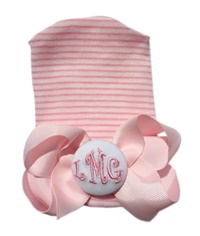 NEWBORN CAP - Monogrammed Bow - Pink Bow