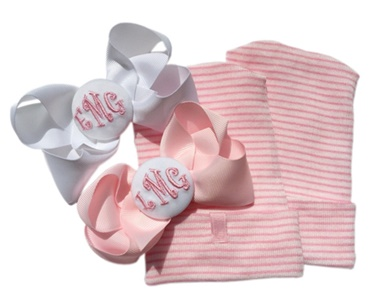 NEWBORN CAP - Monogram Bow - TWIN SET - Pink and White Bows