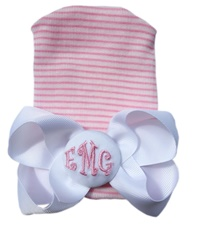 NEWBORN CAP - Monogram Bow - White Bow