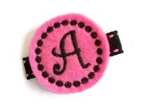 Monogrammed Gumball -  FELT CLIP - Hot Pink/Black Stitch