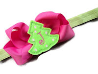 Monogram Bow + Headband Kit - Hot Pink with Grinch Green Tree Center