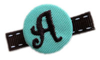 Monogram Coin Clip - Teal and Brown on Stitch