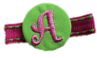 Monogram Coin Clip - Hot Green and Pink on Stitch