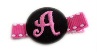 Monogram Coin Clip - Hot Pink Black on Stitch