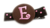 Monogram Coin Clip - Pink Brown on Dots