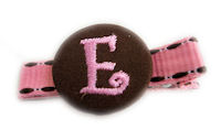 Monogram Coin Clip - Pink Brown on Stitch