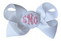 Basic Bows - 3 LETTER MONOGRAM - White and Light Pink
