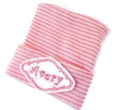 NEWBORN CAP - Personalized with NAME - Baby Pink