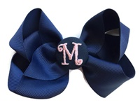 Basic Bows - MONOGRAM - Everyday Navy Blue with Pink