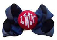 Basic Bows - 3 LETTER MONOGRAM - Navy Blue and Red