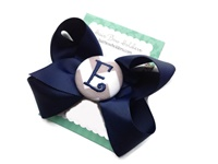 Basic Bows - MONOGRAM - Everyday Navy Blue and Gray Chevron