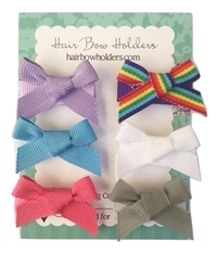 Infant Hair Pretties - Set of 6 - Traditional Bows with Rainbow