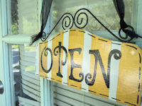 Boutique Sign - OPEN & CLOSED - SunFlower Yellow STRIPES
