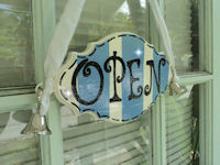 Boutique Sign - French Pro Style - OPEN & CLOSED Blue STRIPES