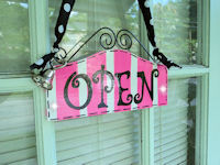 Boutique Sign - OPEN & CLOSED - Hot Pink STRIPES