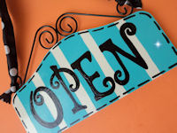 Boutique Sign - OPEN & CLOSED - Pool Blue STRIPES