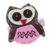 FELT CLIP - OWL - Brown and PINK felt on Dots