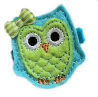 FELT CLIP - OWL - Orient Blue with Hot Green on Velvet