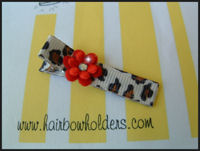 Leopard Clip with Red Petals and Bling