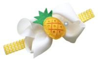 Pineapple Cuteness Bow + Headband Kit - White Bow with Yellow Pineapple Center