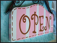 Boutique Sign - OPEN & CLOSED Pink & Chocolate Brown STRIPES