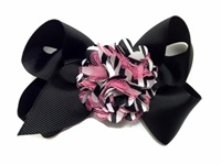 Pom-Pom Bows - Black with Zebra and Hot Pink Mesh