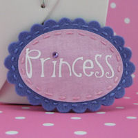 Felt Name Snap Clip - Scallop Oval - Princess - Purple